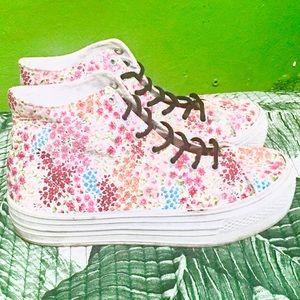 SODA Floral sneakers platform pink white 6.5